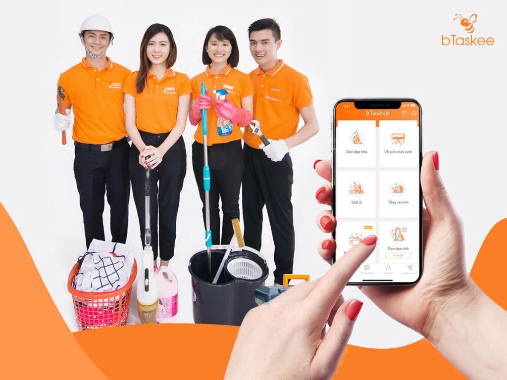 Tìm người giúp việc nhà theo giờ qua ứng dụng bTaskee