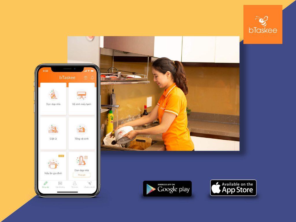 Tìm người giúp việc theo giờ qua ứng dụng bTaskee
