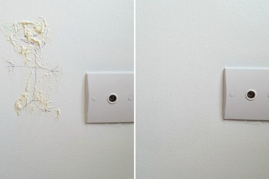 Làm sạch vết bẩn trên tường bàn mayonnaise