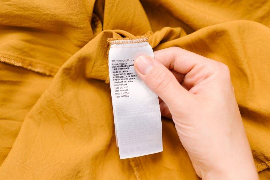 Nhãn giặt quần áo vải rayon