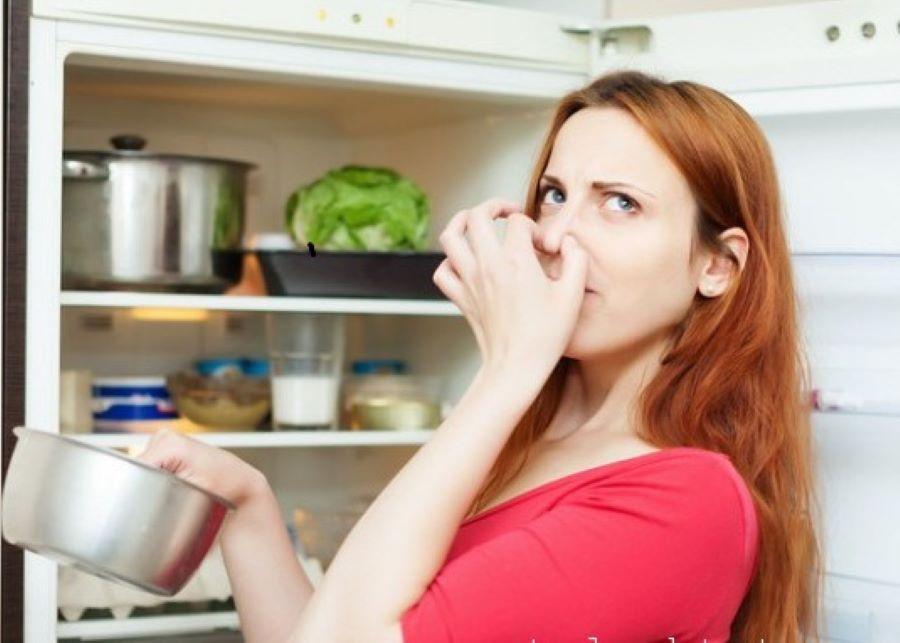 cô gái khó chịu vì mùi hôi tủ lạnh