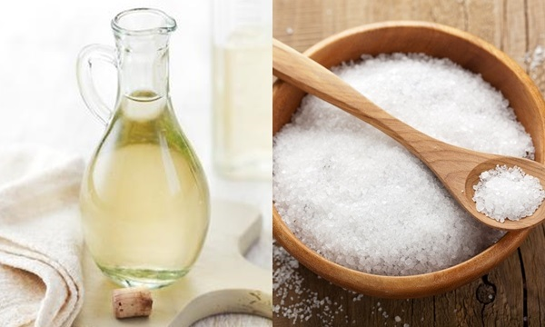 giấm và muối làm sạch đồ sứ bị cáu bẩn