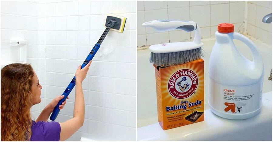 Sử dụng baking soda tẩy vết bụi và bùn trên tường