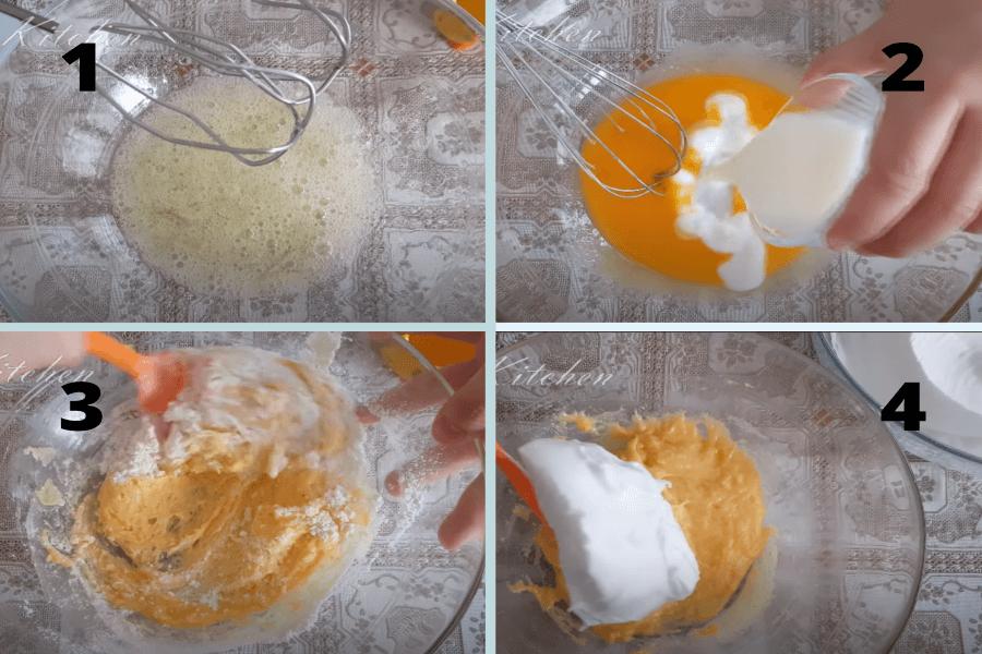 Đánh bột làm cốt bánh bông lan