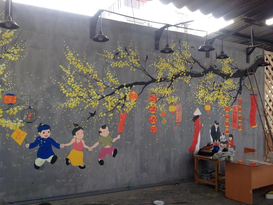 vẽ tranh tường trang trí nhà đón Tết