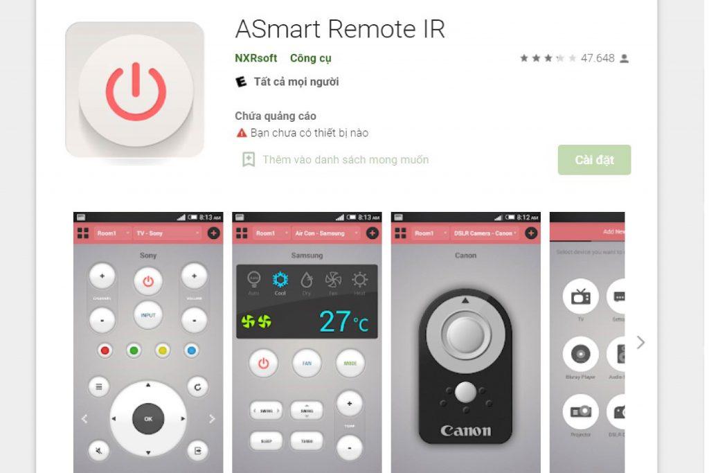 ứng dụng điều khiển máy lạnh ASmart Remote IR