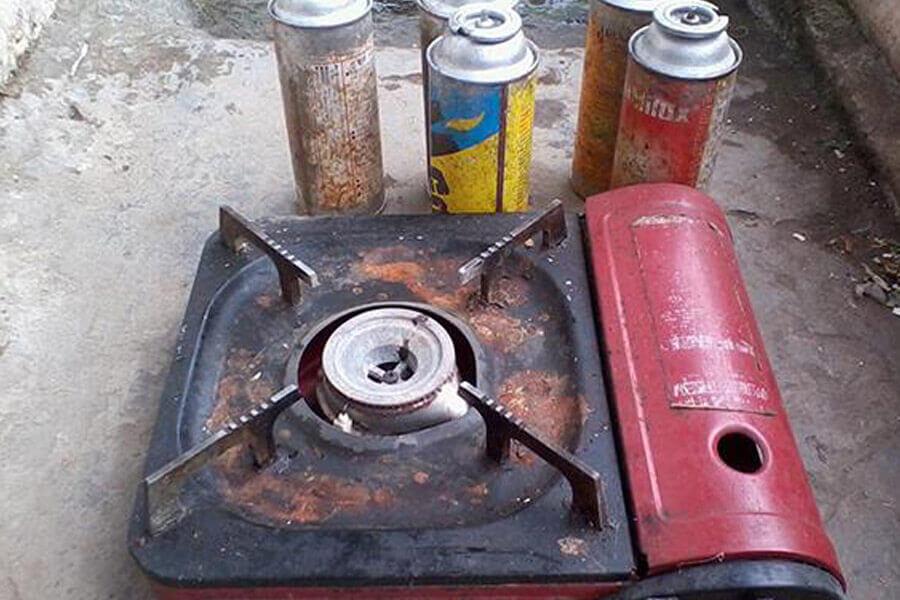 bếp và chai ga mini cũ