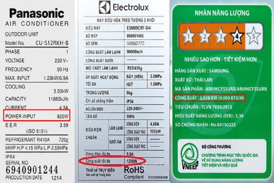 các chỉ số tính tiền điện
