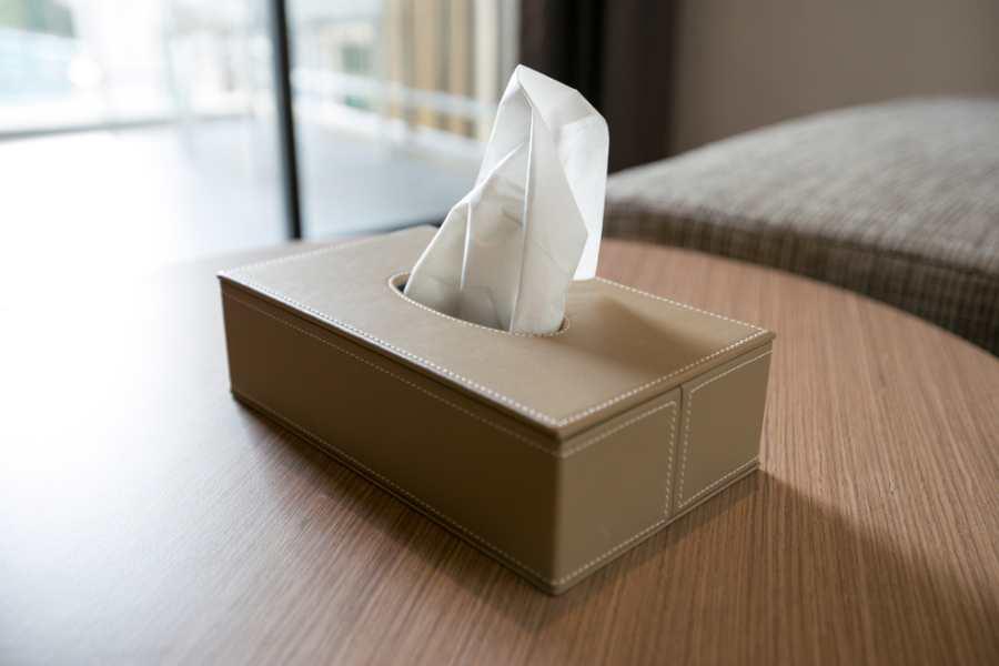 Làm sạch mảnh vỡ thủy tinh bằng khăn giấy