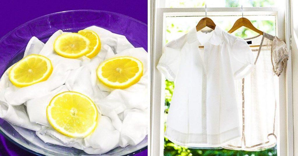 Ngâm quần áo trong nước nóng có pha chanh và bột giặt giúp tẩy vết ố vàng hiệu quả