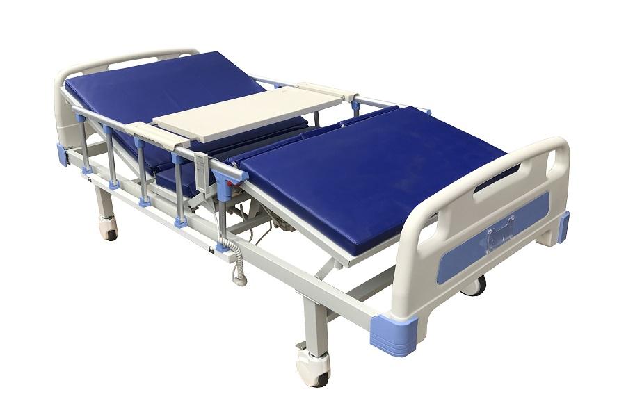Giường điện đa năng bao gồm 4 tấm sắt sơn tĩnh điện toàn bộ mặt giường. Động cơ điện nâng hạ các tấm. Tích hợp dập khung và bao phủ bằng phun sơn tĩnh điện, chống ăn mòn và chống rỉ sét.