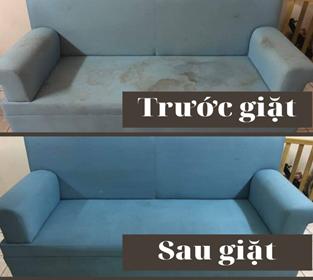 Ghế sofa bị phai màu, nhiều vết bẩn và sau khi được vệ sinh sạch sẽ như mới