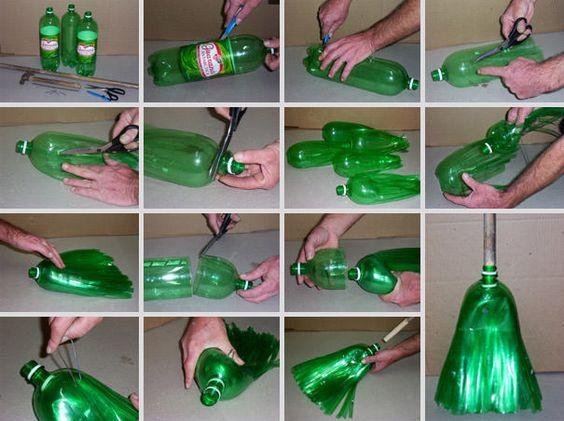 Các bước tái chế chai nhựa làm chổi quét nhà