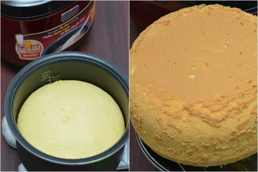 """Cho hỗn hợp vào ⅔ nồi và bật chế độ """"Cook"""". Khi nồi chuyển qua """"Warm"""", bạn nướng thêm 20-25 phút nữa rồi lấy bánh ra."""