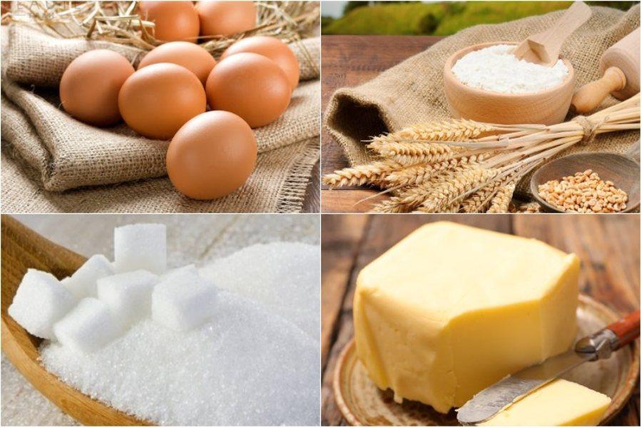 Nguyên liệu làm bánh kem sinh nhật: trứng, bột mì, bơ lạc,....