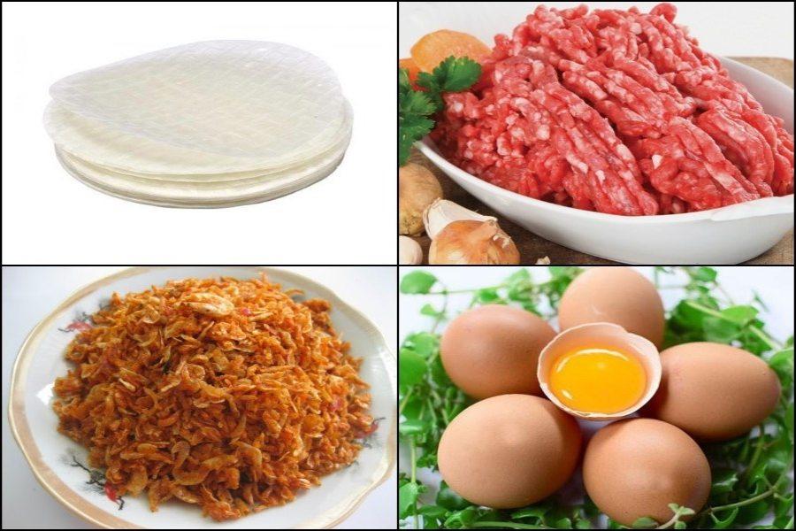 Nguyên liệu làm bánh tráng nướng: bánh tráng, trứng cút (hoặc trứng gà), xúc xích, thịt xay