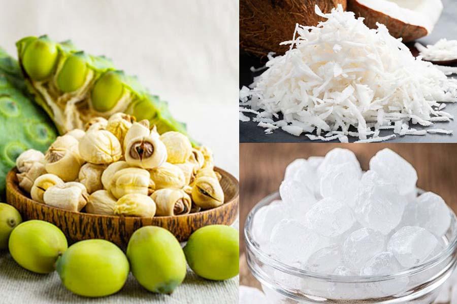 hạt sen, đường phèn, dừa nạo