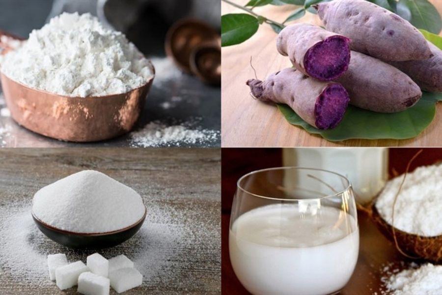 Nguyên liệu làm bánh khoai mỡ: khoai mỡ, bột nếp, sữa tươi, đường trắng,...