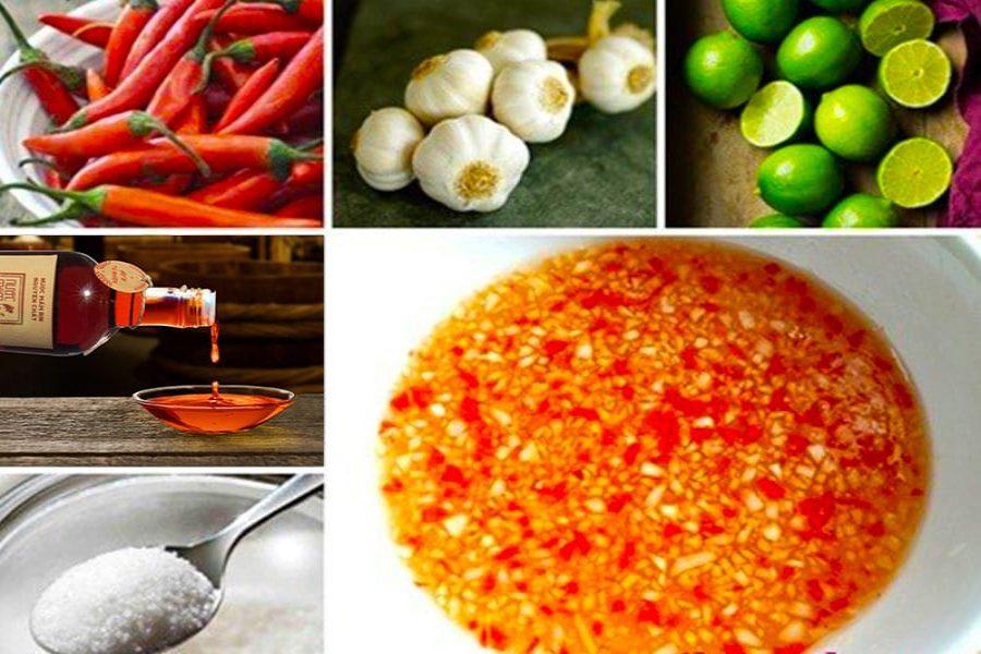 Nguyên liệu: tỏi khô, trái chanh, ớt tươi, đường cát, nước mắm,