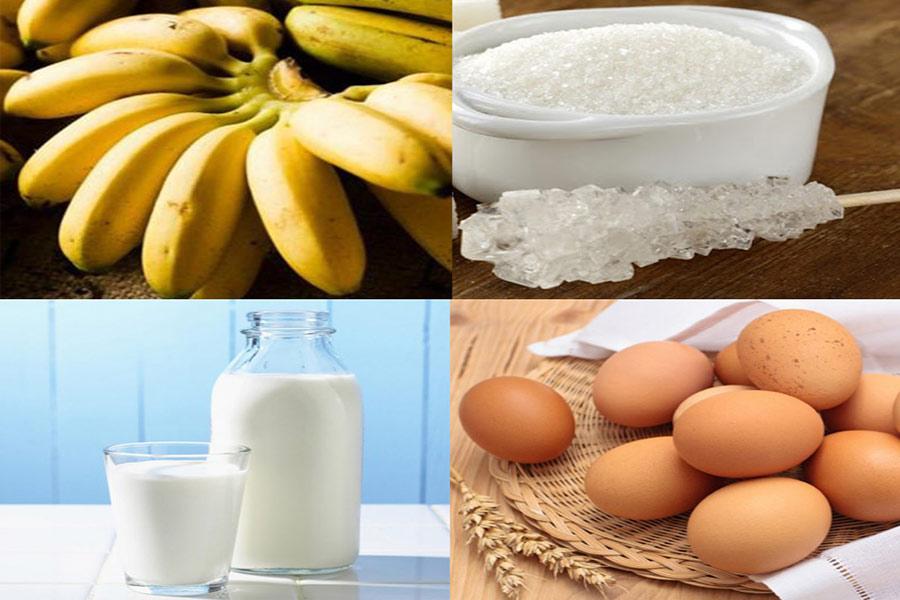 Nguyên liệu làm bánh chuối nướng: chuối chín, đường cát, sữa không đường, trứng gà,...