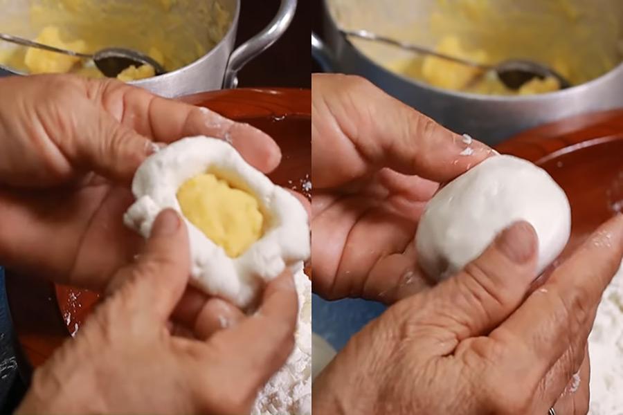 Tạo hình bánh cam bằng cách dùng tay vo tròn