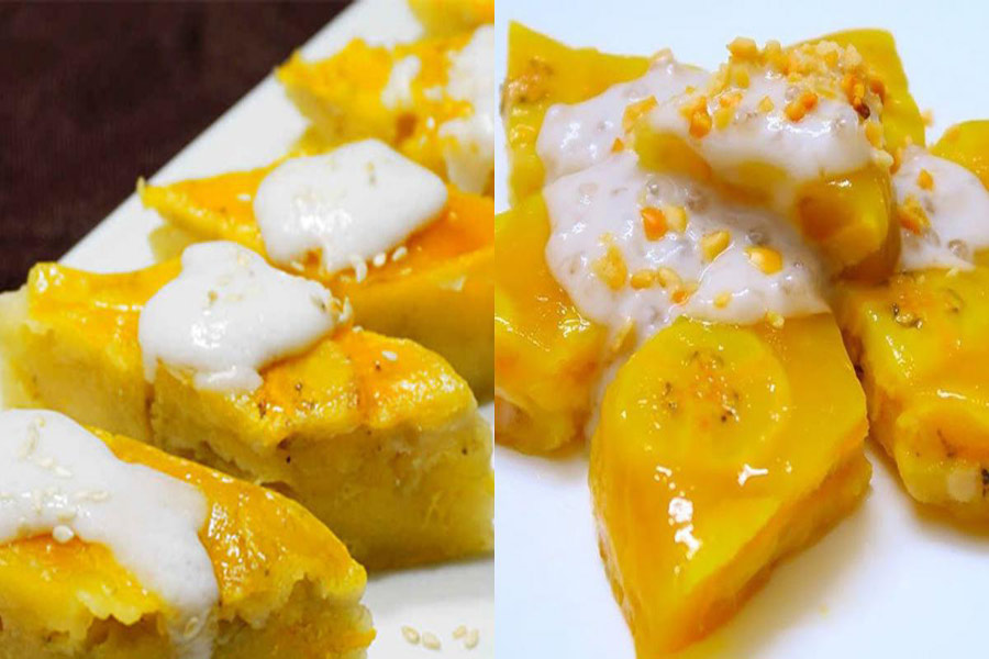 Xếp bánh chuối thành hình ngôi sao 6 cánh, với nước cốt dừa và đậu phộng, mè rang ở trên