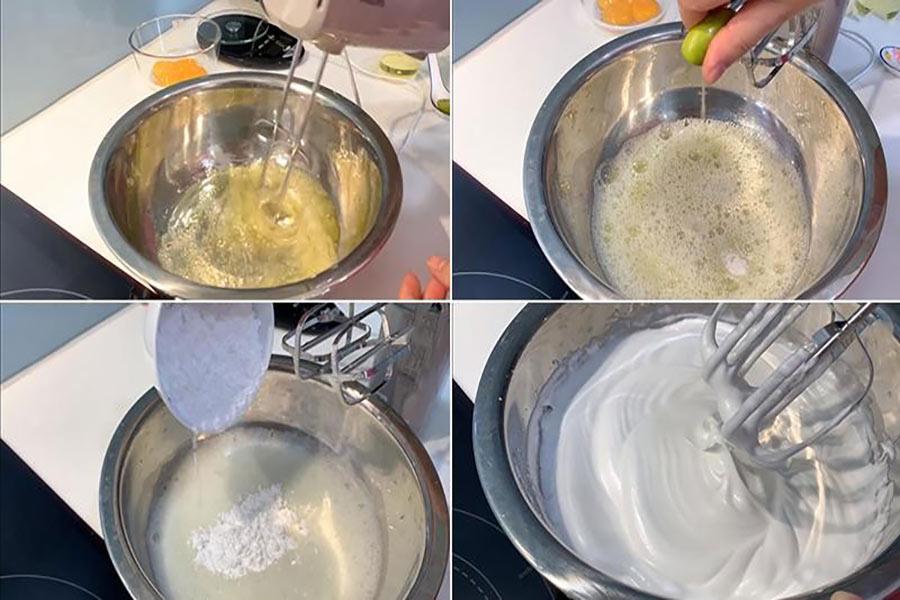 Phết lớp bơ dưới đáy nồi cơm điện. Đổ hỗn hợp vào. Bật chế độ nấu trong 10p, chuyển qua chế độ hâm (hoặc ấm) khoảng 2-3p. Lặp lại 3 lần