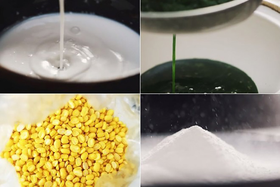 Trộn bột gạo, bột năng, đường, đậu xanh đã giã cùng nước cốt dừa làm bột đậu xanh. Trộn bột năng, bột gao, vani, đường còn lại cùng nước lá dứa làm bột lá dứa.