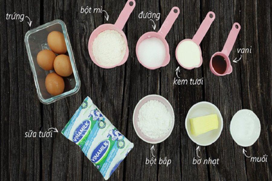 Nguyên liệu làm bánh su kem: trứng, bột mì, bột bắp. đường, whipping cream, bơ nhạt,...