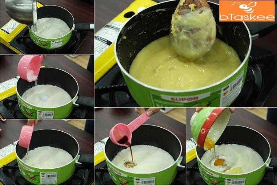 Cách làm bánh su kem: Cho đường, kem tươi, bơ nhạt vào hỗn hợp trứng bột ngô đã hoà quyện, khuấy đều và đun sôi. Sau đó cho thêm vani và lòng đỏ trứng gà, muối vào khuấy đều tiếp