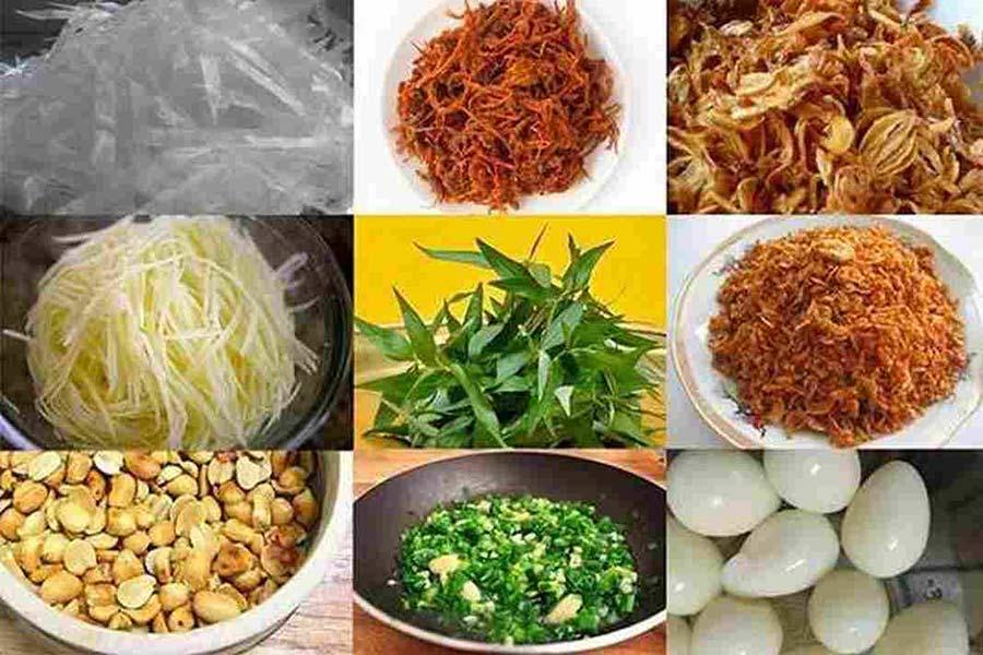 Nguyên liệu: Thịt bò khô, bánh tráng, rau răm, xoài xanh, trứng cút, rau răm, đậu phộng