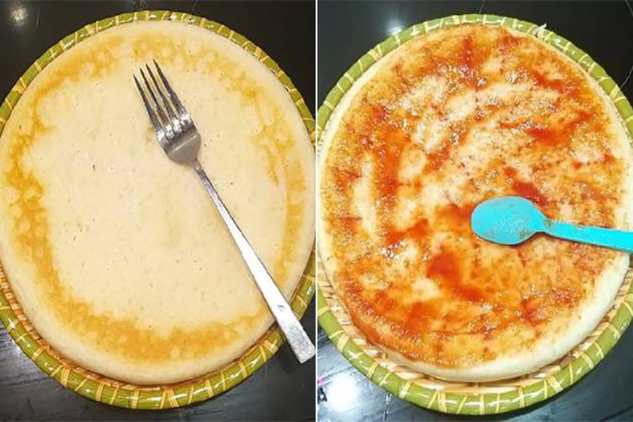Đế bánh pizza đã phết sốt cà chua