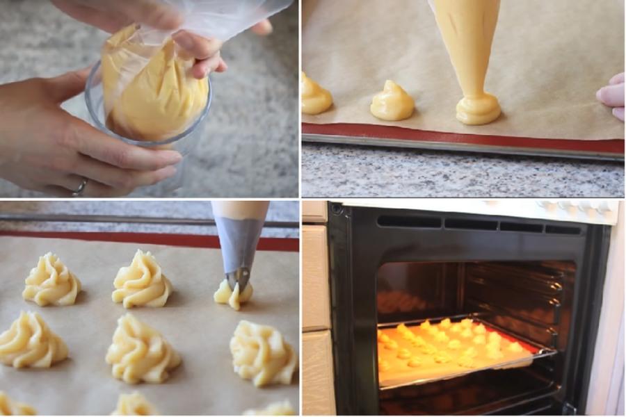 Dùng túi bắt kem để bắt phần bột thành từng khối tròn nhỏ vào khay nướng bánh. Lót 1 lớp giấy nến và làm nóng lò ở nhiệt độ 200 độ C trước khi nướng 5-10 phút. Cho bánh vào lò rồi nướng ở 200 độ C trong 10 phút đầu và 180 độ C trong 15 phút sau.