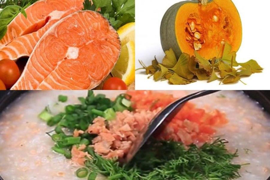 Nguyên liệu chế biến cháo cá hồi bí đỏ: cá hồi và bí đỏ, hành lá, gừng, tỏi, gạo tẻ, gạo nếp
