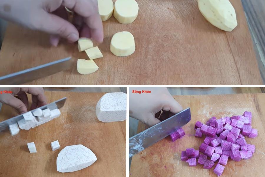 cắt khoai thành các khúc vừa ăn