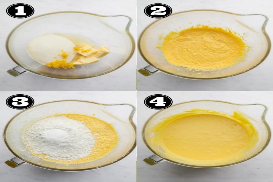 Đánh đều hỗn hợp trứng bột ngô và sữa tươi không đường