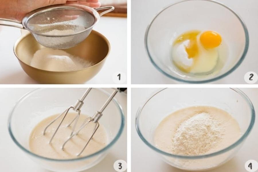 Làm bánh Doremon: đập trứng gà vào tô, cho đường vào.Đánh bông hỗn hợp rồi bột rây mịn, bột nở, mật ong, rượu vào khuấy đều.