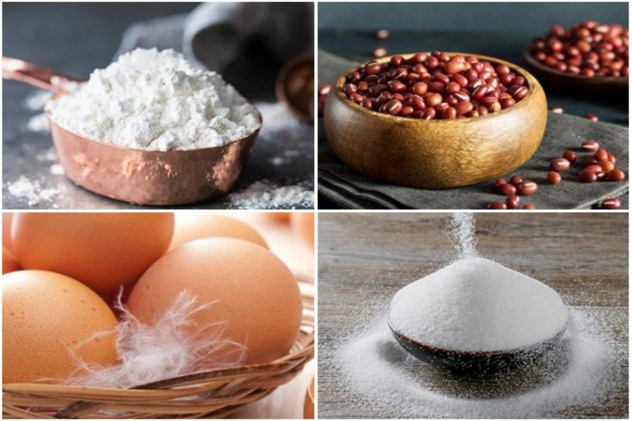 Nguyên liệu làm bánh rán Doremon: đậu đỏ, bột mì, trứng gà, mật ong,...