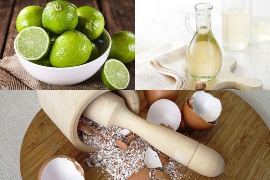 Sử dụng hỗn hợp vỏ trứng, chanh và giấm làm sạch vết bẩn trên đồ sứ