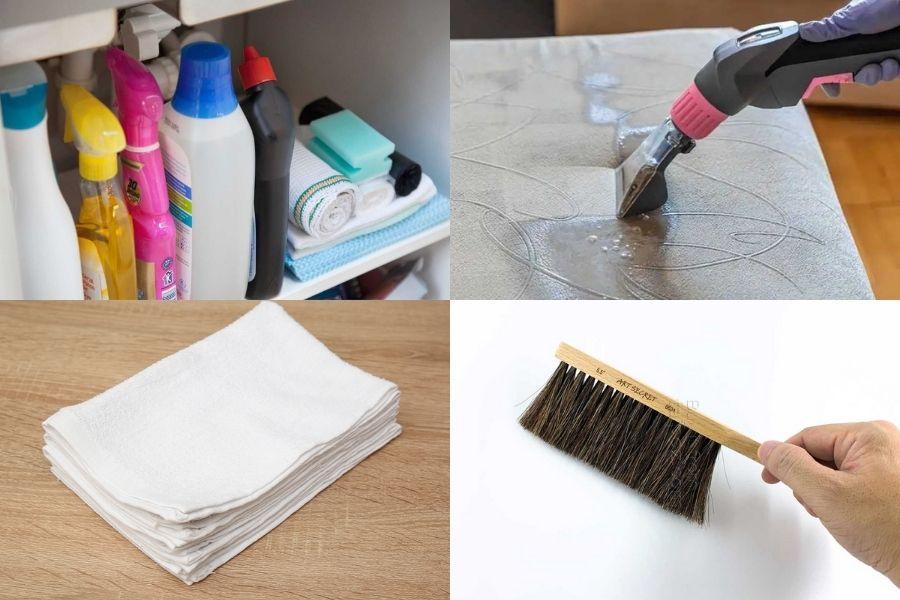Dụng cụ chuẩn bị giặt topper nệm