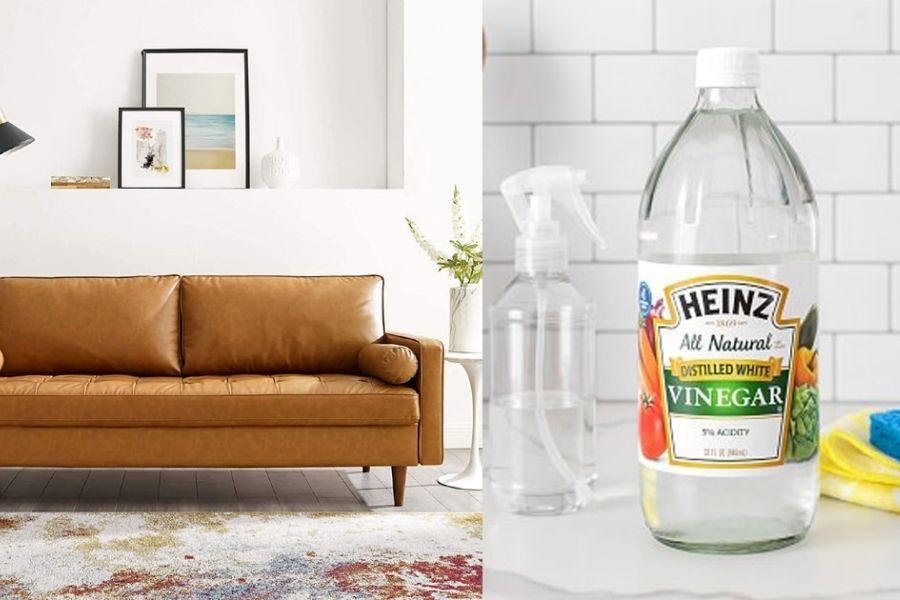 Cách làm sạch ghế sofa giả da bằng giấm
