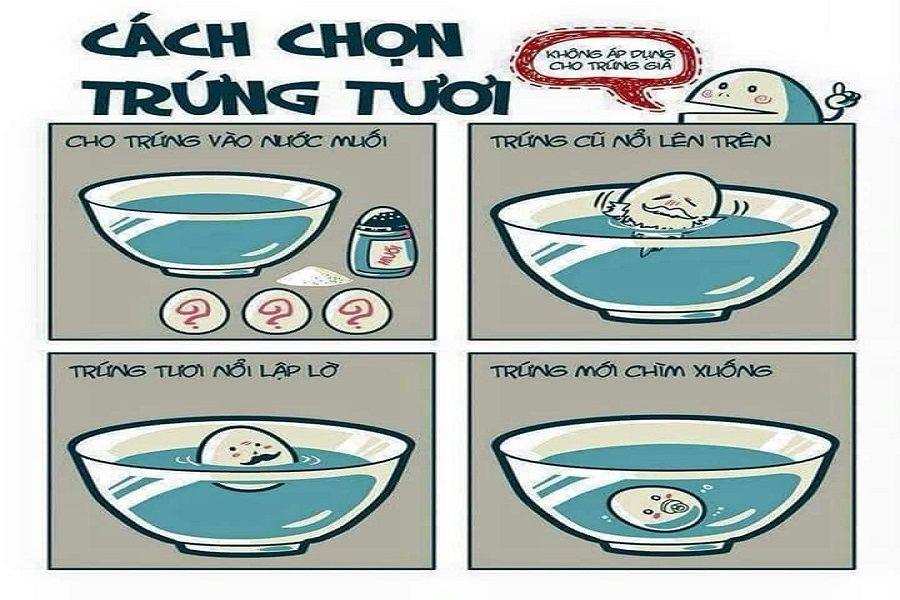 Hướng dẫn mẹo chọn trứng gad bằng cách thả vào nước