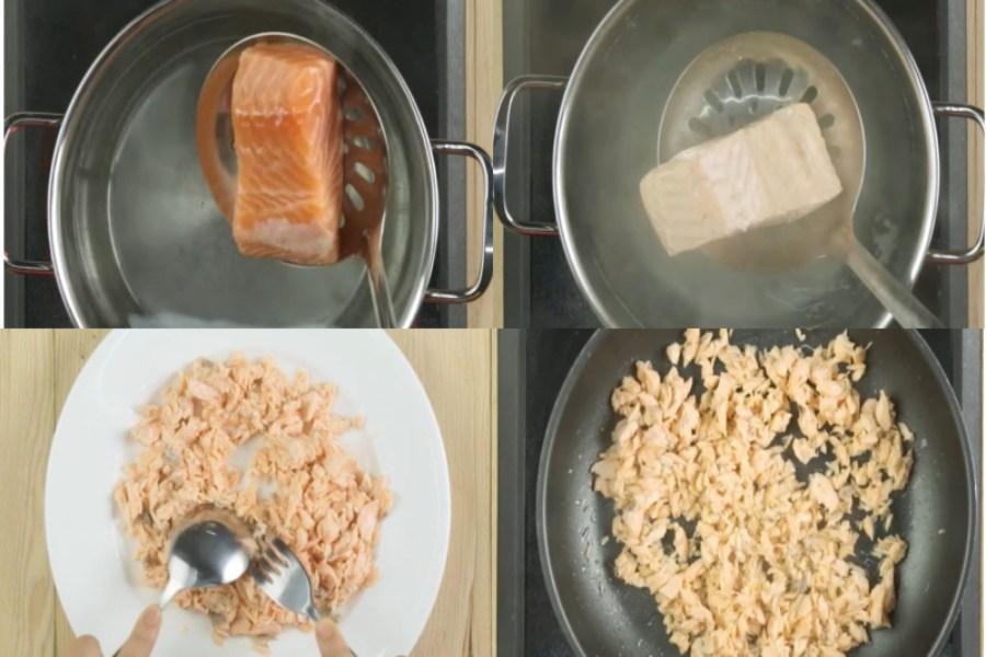 Đun sôi nước với muối. Cho cá vào và luộc ở lửa nhỏ Cá chín thì nghiền nhuyễn