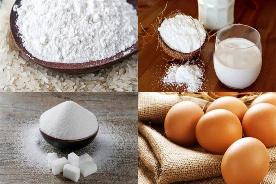 Nguyên liệu làm bánh tai yến: trứng gà, bột năng, bột gạo, bột nếp,...