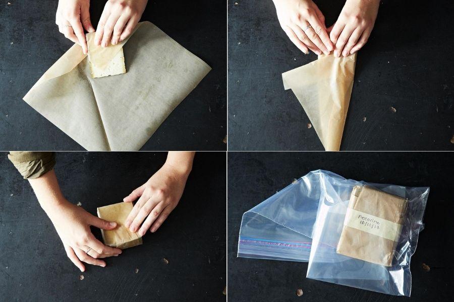 Cách gói phô mai trong giấy nến để bảo quản trong tủ lạnh