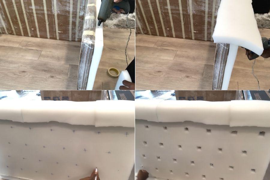 Bọc lớp đệm bông ép cho ghế sofa làm bằng bìa cát tông