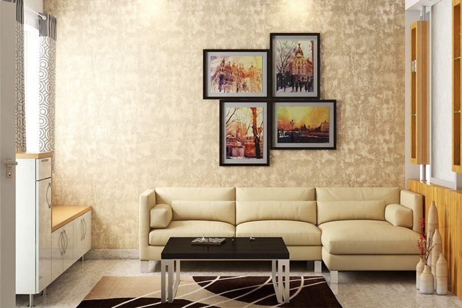 Bố trí sofa phòng khách dựa tường