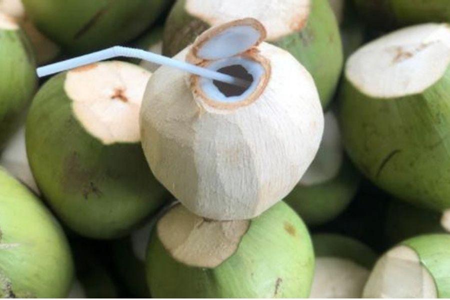 dừa xiêm được cắt bỏ lớp vỏ