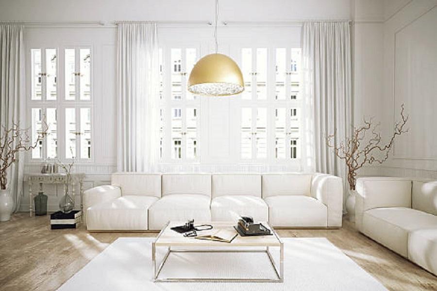 Chọn rèm cửa màu trắng hợp với tường màu trắng