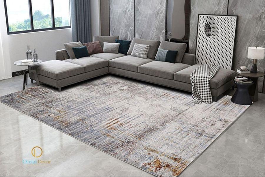 thảm trải sàn phòng khách vân gỗ